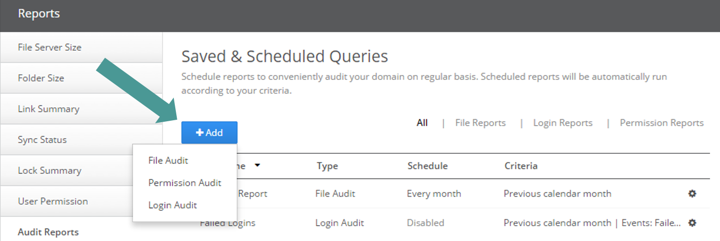 ... Can Directly Create A New Report Query From The Saved U0026 Scheduled  Queries Section By Clicking U201c+ Addu201d And Selecting The Desired Report Type  (file Audit, ...