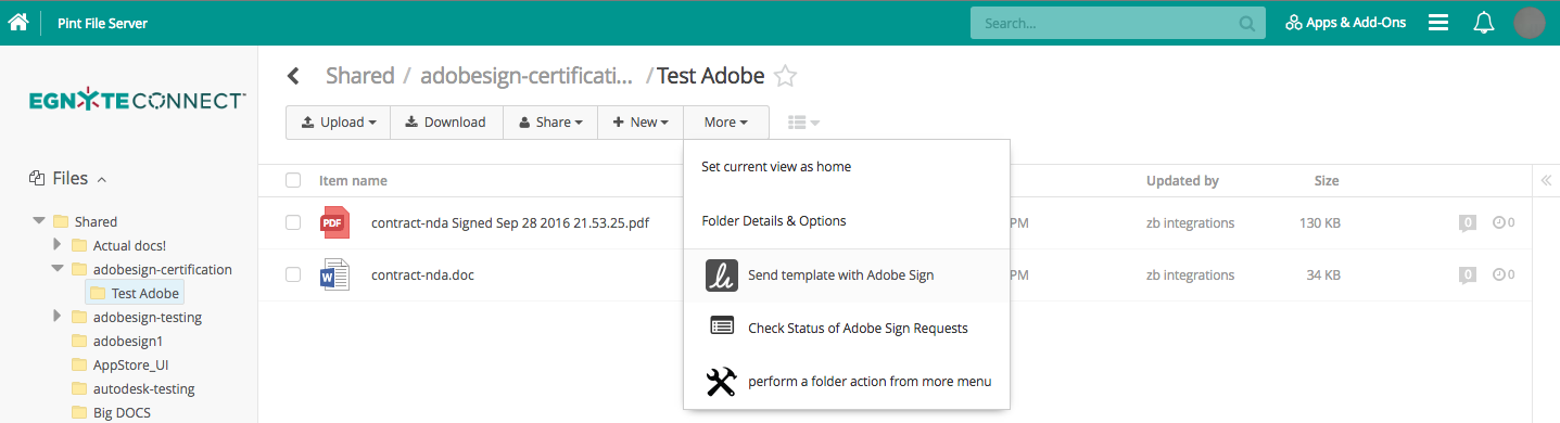 Using egnyte for adobe sign egnyte this kicks off a signature flow using your adobe sign templates once the document is signed it is returned to the folder from which the send template pronofoot35fo Images